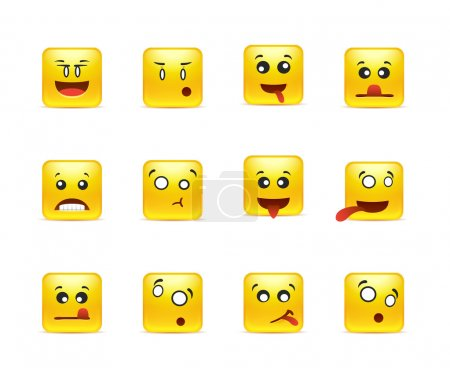 Illustration for Set of yellow anime smileys square of twelve pieces - Royalty Free Image