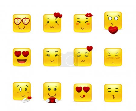 Illustration for Set beauty valentine square emoticons in love - Royalty Free Image