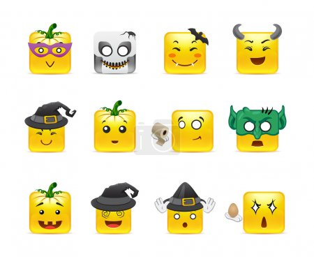Illustration for Set of funny and very scary emoticons are dressed for Halloween - Royalty Free Image