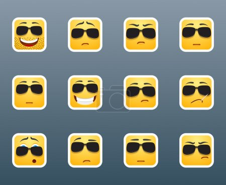 Illustration for Set of 12 emoticon smile stickers with sunlasses - Royalty Free Image