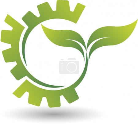 Illustration for Illustration art of a Eco gear logo with isolated background - Royalty Free Image