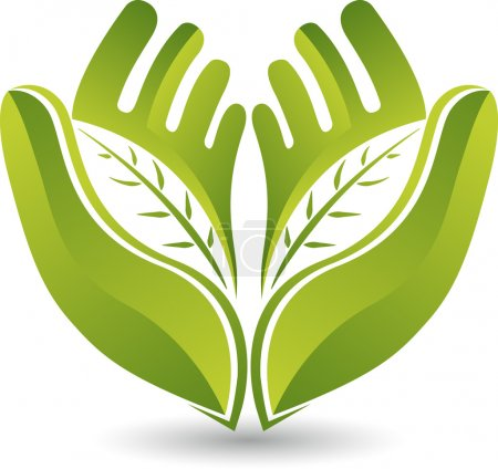 Illustration for Illustration art of a hands leaf logo with isolated background - Royalty Free Image