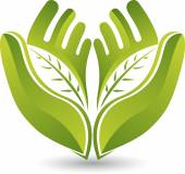 Illustration art of a hands leaf logo with isolated background