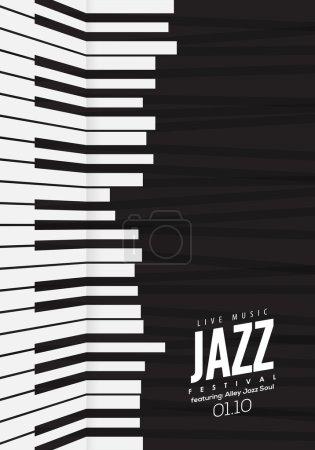 Illustration pour Musique jazz, modèle de fond d'affiches. Illustration vectorielle de clavier de piano. Fond de site Web, conception de flyer festival événement. - image libre de droit