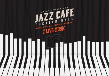 Illustration pour Musique de jazz, modèle de fond d'affiche. Illustration de clavier de piano. Contexte de site Web, conception de dépliant d'événement de festival. - image libre de droit