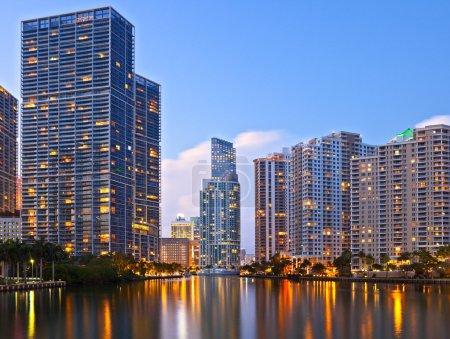 City of Miami Florida sunset skyline
