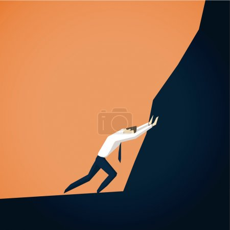 Illustration for Businessman trying to move mountains. EPS 10 file - Royalty Free Image