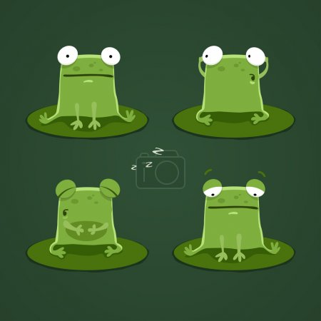 Funny green frogs set...