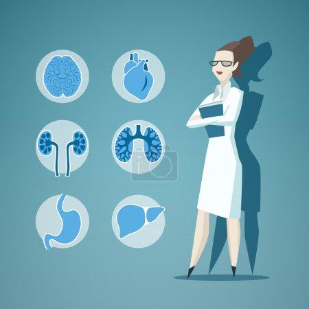 Illustration pour Illustration du Docteur et icônes des internes - image libre de droit