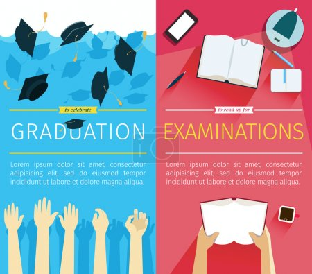 Illustration for Set of two vector education banners. Preparing for examinations banner with hands which is holding book. Celebrating a graduation banner with student hands which is throwing up square academic caps - Royalty Free Image