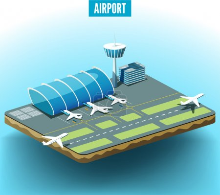 Airport model with airplanes