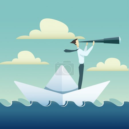 Illustration for Businessman is sailing on paper boat in ocean - Royalty Free Image