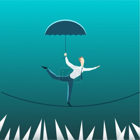 Illustration for Businessman with umbrella over precipice on turquoise background - Royalty Free Image
