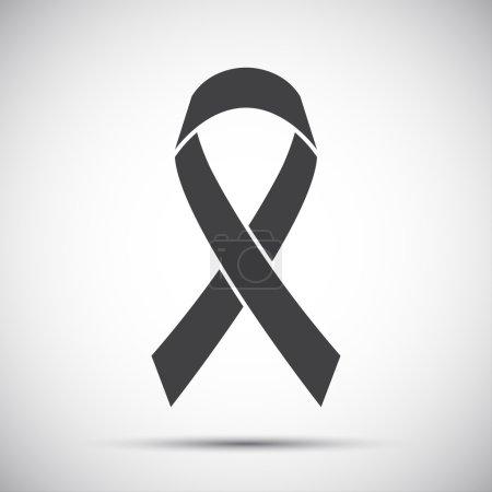 Simple grey ribbon icon