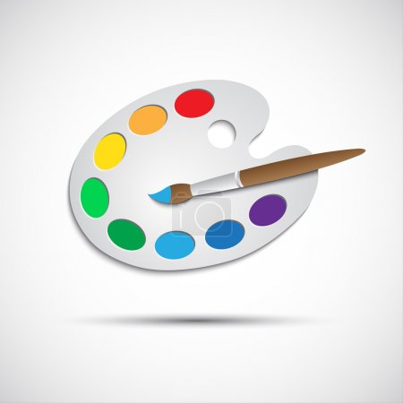Illustration for Modern art palette with brush and eight colors, vector illustration - Royalty Free Image