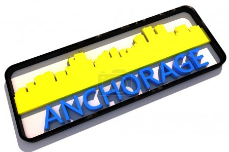 Anchorage USA logo with the base colors of the flag of the city on white 3D design