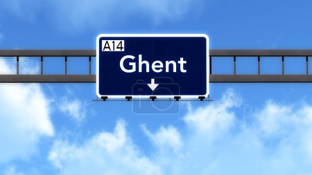 Ghent Belgium Highway Road Sign