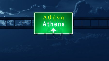 Volos Greece Highway Road Sign at Night