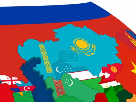 Kazakhstan on 3D map with flags
