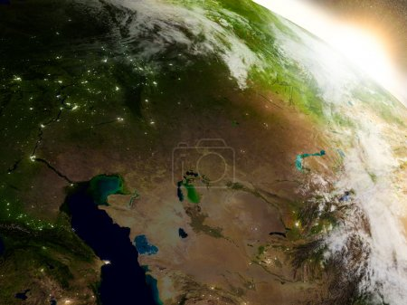 Kazakhstan from space during sunrise