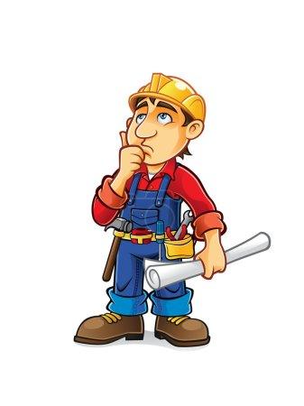 Illustration pour Constructeur pensent avec la main sur le menton et tenant le plan directeur - image libre de droit