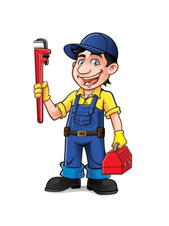 Illustration pour Plombier était debout tenant une clé à pipe et des outils avec un sourire - image libre de droit