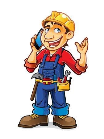 Illustration pour Constructeur était profondément dans la conversation avec le téléphone mobile - image libre de droit