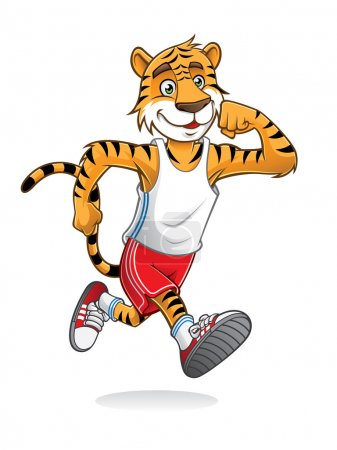 Tiger is running like athletes runners...