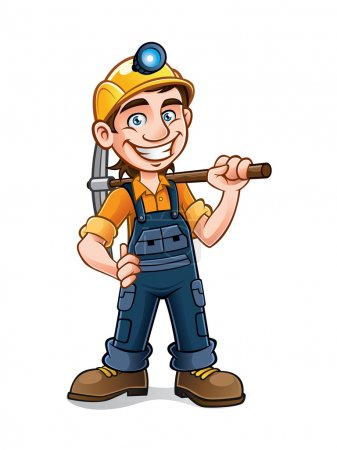 Illustration for Miners posing with a pickaxe on his shoulder and smiling happily - Royalty Free Image