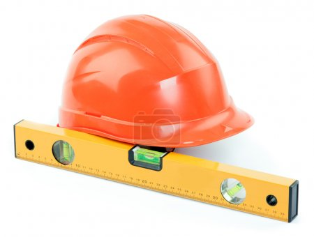 Construction helmet and level