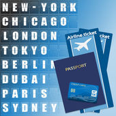 Airline ticket credit card and passport