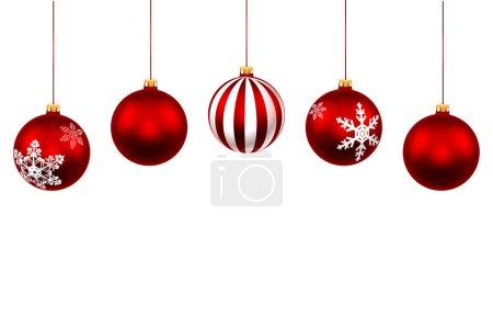 Ilustración de Establecer la bola roja de Navidad. Decoraciones con cinta aislada sobre fondo blanco. Vector. Ilustración. - Imagen libre de derechos