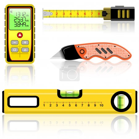 Illustration for Yellow laser range finder, spirit level, tape measure, knife construction isolated on white. Vector illustration. - Royalty Free Image