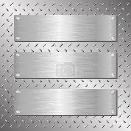 Illustration for Three steel plaques on iron background - Royalty Free Image
