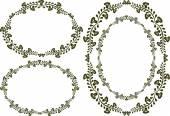 Set of four floral frames