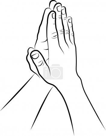 Illustration for Clip art illustration of hands folded in prayer - Royalty Free Image