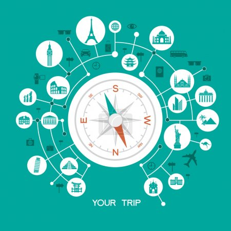 Compass with Famous international landmarks