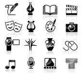 set of black Art icons