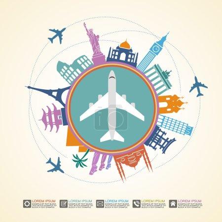 Famous international landmarks around aircraft