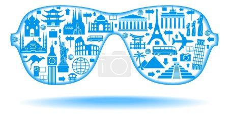 Sunglasses with Famous international landmarks icons