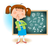 Avatar of school girl and blackboard with icons of education The concept of school education