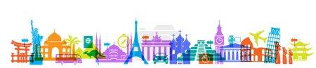 Illustration pour Icônes célèbres monuments internationaux de couleur couché rangée horizontale, concept de voyage autour du monde - image libre de droit