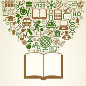 icons of education over open book