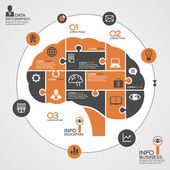 Template of human brain as infographic business icons