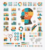 Information Graphics charts and diagrams puzzled in the shape of a human head