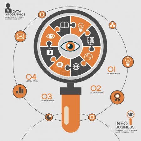 Abstract magnifying glass surrounded infographic