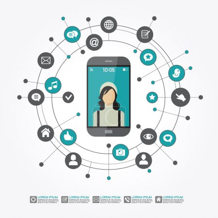 Illustration for Smartphone surrounded by abstract computer network with integrated circles and icons for digital, network, internet, connect, social media, communicate. - Royalty Free Image