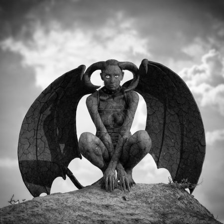 Photo pour Créature mystique - femme en peinture corporelle avec des ailes et des cornes - image libre de droit