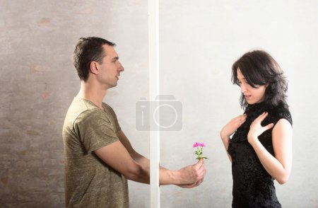 Photo for Breaking down the barrier between two people, concept - Royalty Free Image