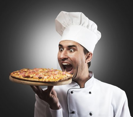 Funny pizza chef